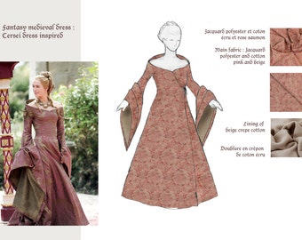 Medieval fantasy dress  Game of thrones inspired - Cersei cosplay-
