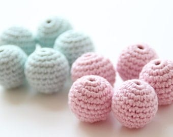 Organic crochet beads / Organic yarn beads / Baby teething beads / 22 mm or 25 mm crochet beads
