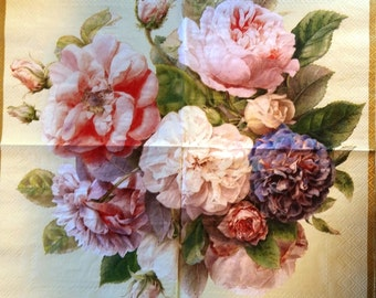TWO Roses-Flowers Cream Paper Luncheon Napkins for Decoupage and Paper Crafts