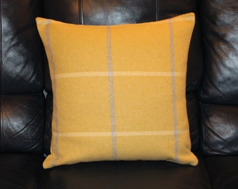 Handmade Plaid Check Cushion Cover Wool Effect Yellow Mustard Grey White Highland