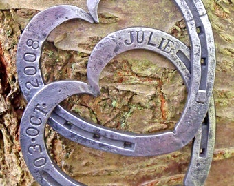 Blacksmith Forged, Entwined Horseshoes, Personalised with both date and names: