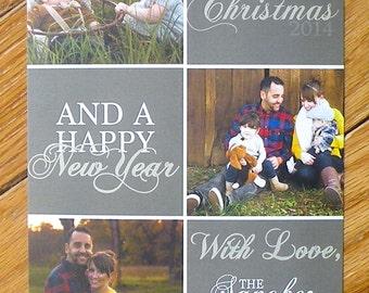 DIGITAL Dusty Brown Tiled Christmas Photo Card