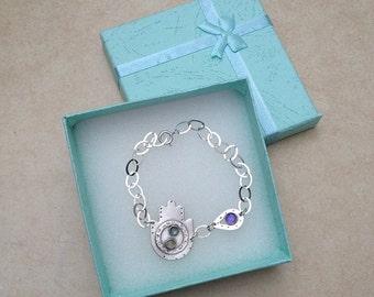 Hamsa  Bracelet , Big sterling silver Hamsa , symbol of protection , Blue Topaz ,  Amethyst ,  Aqua Marine ,  Judaica , israeli art