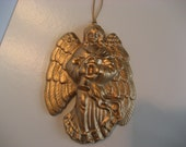 "Vintage Holiday Ornament Angel Gold Christmas Decoration for your Tree, 4"" high x 3"" wide"