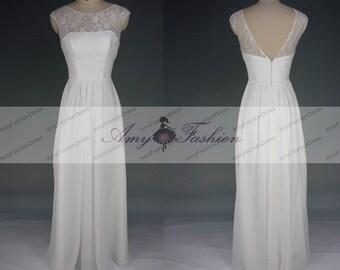 Bridesmaid Dress White Lace Chiffon Beach Wedding Dress,Illusion Neckline  Backless Prom Dress,Cap