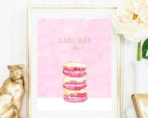 Laduree Gold Macaron Watercolour illustrated art. Luxury treats and desserts. Beautiful high fashion wall art. Modern Home Décor.