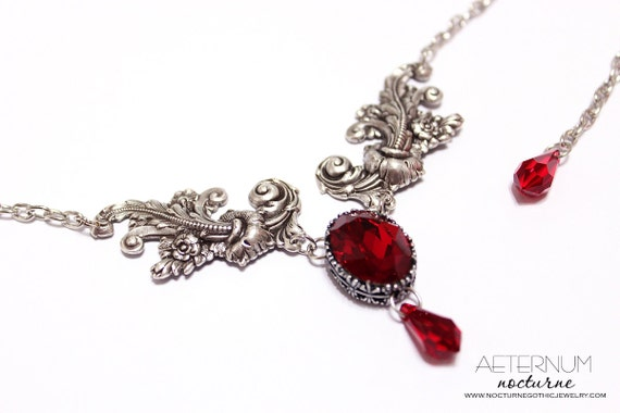Vampire Gothic necklace - antique silver settings and blood red Siam Swarovski crystals - Victorian Gothic jewelry