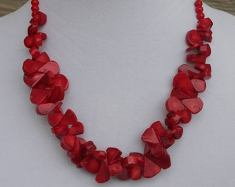 Candy Apple Red Coral Necklace, Coral Jewelry, Red Coral Necklace, Bamboo Coral Necklace