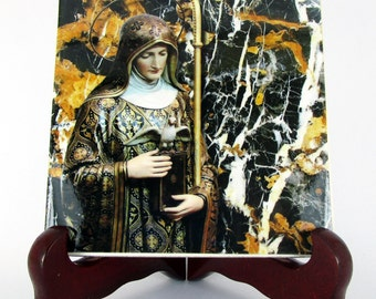 Saint Scholastica -  ceramic tile handmade in Italy - a perfect gift for nuns - catholic art - St Scholastica - patron saint - saints