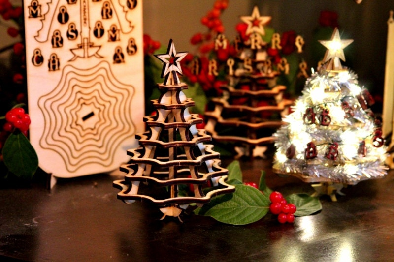 Mini Christmas Tree Kit Wooden Desktop Tree Made From A