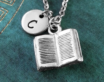 Book Necklace, Silver Book Jewelry, Open Book Necklace, Book Pendant Necklace, Reading Gift for Teacher, Book Charm Necklace, Novel Necklace