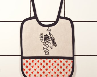 Rock'n'roll baby bib - Little devil - with pocket printed by hand