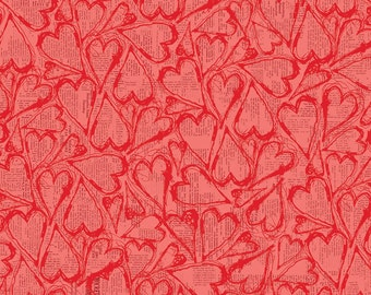 Newsprint Hearts Fabric, All My Heart Fabric, Clothworks Y1565-40 Iron Orchid Designs, Valentines Day Fabric, Cotton