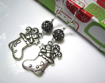 Silver Christmas Stocking and Bling Christmas Earrings - Dangly and Festive Holiday Jewelry