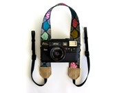 Cute camera strap organic cotton and leather camera strap Grey SLR camera strap