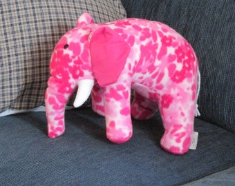 ELEPHANT: Stuffed toy elephant. Handcrafted plush elephant. Each elephant is unique. Cute stuffed animal. Ready to ship