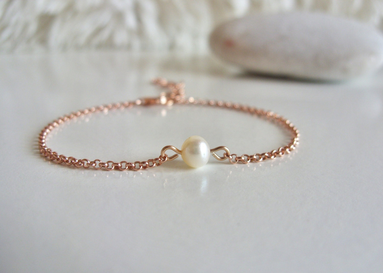 Rose Gold Pearl Bracelet Freshwater Pearl By Seacastledesigns