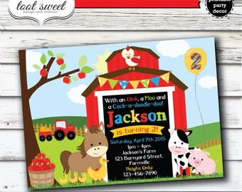 Printable Farm Birthday Invitation - Farm Animal, Barnyard theme