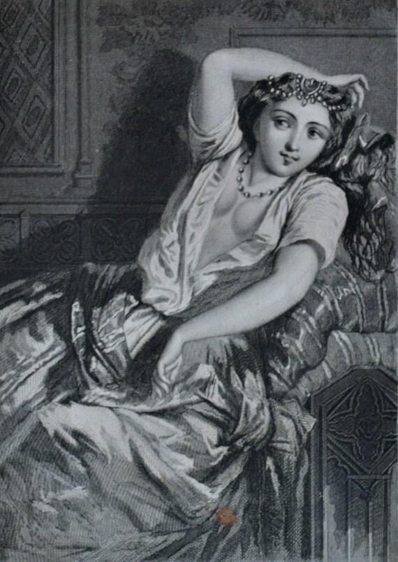"""Antique lithograph. Drouart illustration of 1851. French old print. """"Les mystères du peuple"""", Azénor la Pále. 6'2 x 9'2 inches."""