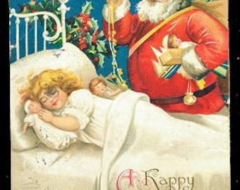 1907 Ellen Clapsaddle Santa Claus with Girl Sleeping Postcard