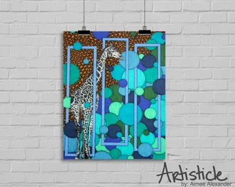 Giraffe Art Print - Wild Animal Art - Blue Brown Art - Nursery Zoo Art - Kids Room Decor - Safari Theme Art - Giraffe Drawing - Jungle Art