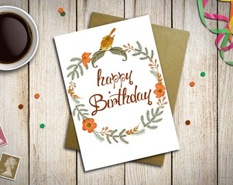 Happy Birthday Card printed on paper with flowers, bird and natural elements, with kraft envelope