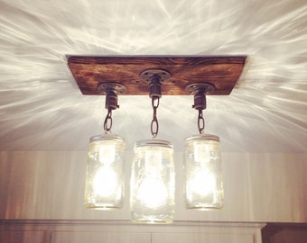 Rustic Industrial Modern Handmade Mason Jar Chandelier/Rustic Lighting/3 Mason Jars/Island Lighting/Pendant Light/Farm Light/Cottage/Fixture