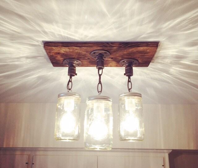 Rustic industrial modern handmade mason jar chandelier rustic for Rustic industrial kitchen lighting