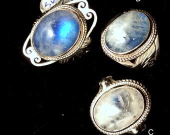 Size 8 Sterling Silver Ring. Rainbow Moonstone, Filigree, Like Clouds in Blue Sky   free US ship