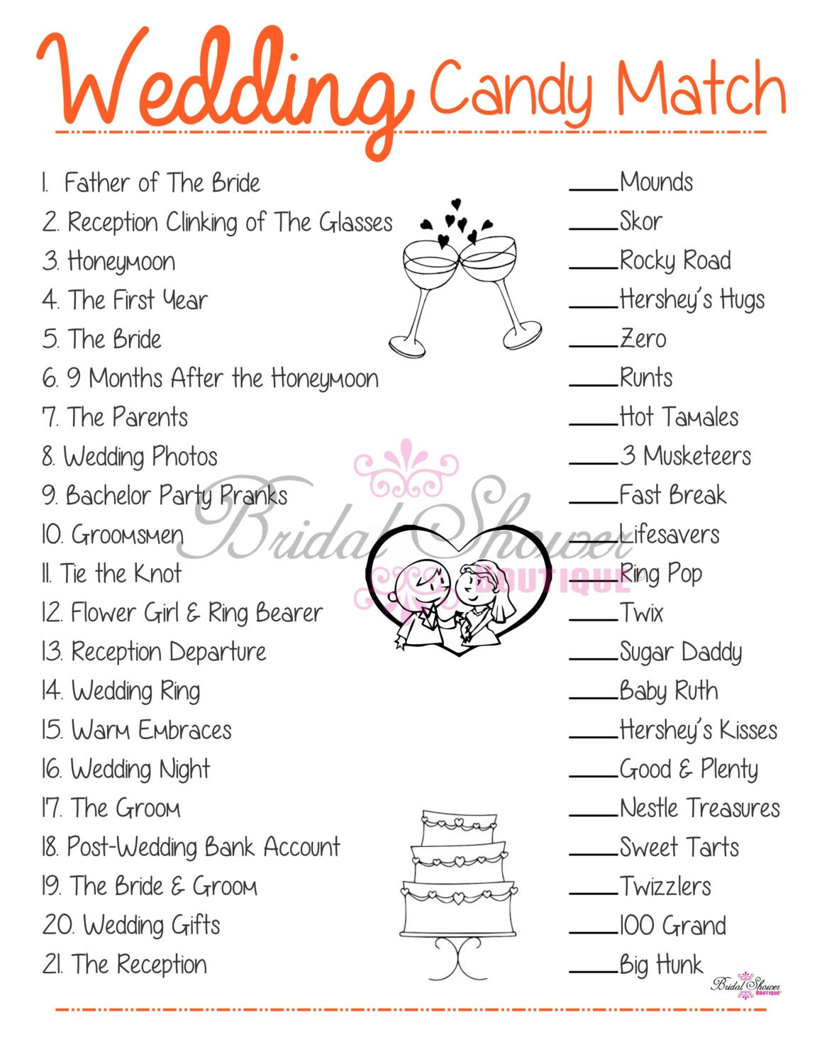 Wedding candy match bridal shower game orange fun detailed for Bridal shower games that aren t cheesy
