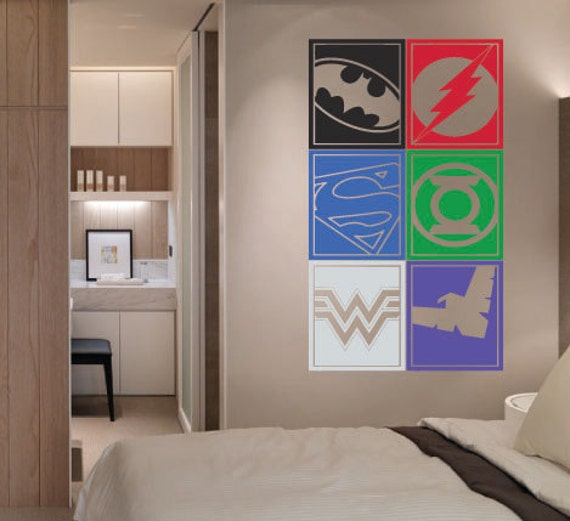 Large Superhero Logo Justice League Batman Flash By