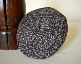 Brown Tweed Four Piece Flat Cap - Pure Wool Tweed Handmade Winter Ivy / Golf / Flat Cap - Men Women