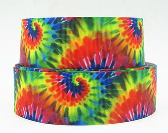 1.5 Inch Tye Dye Grosgrain Ribbon - Grosgrain Ribbon by the Yard for Hairbows, Scrapbooking, and More!!
