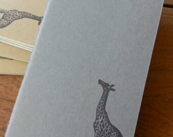 Pocket Gray Moleskine Giraffe Stamped Notebook : Hand-stamped Travel Journal