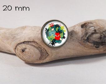 Pin little fox 20mm diam. Glass dome on pin