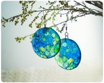 Resin Transparent Earrings. blue green Tiffany stained glass. Round earrings. Epoxy earrings