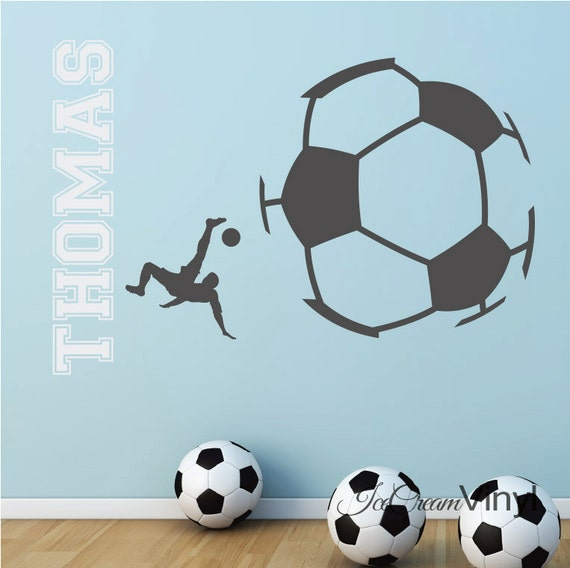 Soccer Wall Decal Sports Decal with Name for Boys or Girls Vinyl Wall Decor Childrens Decor -Boy's Room- Vinyl Lettering Girl's Room