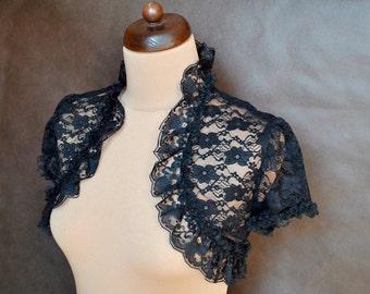 Gothic Victorian Vampire Elegant Burlesque Lolita LACE BOLERO cape, shrug with short sleeves, prom, Halloween