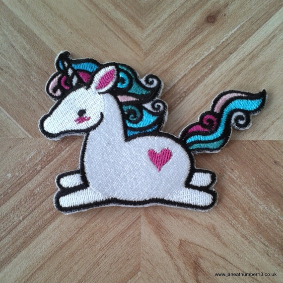 Iron on patch cute unicorn embroidered by janeatnumber