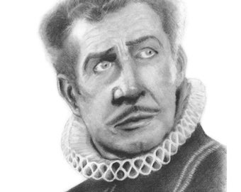 Vincent Price Art Print by Colin Richards (7.5x9.5 inch Digital Print on 8.5x11 cardstock, unframed) Classic Spooky Halloween Portrait Art
