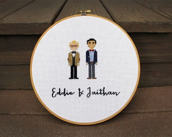 """2-3 figure custom made 9"""" wood hoop cross stitch. Name & date or short phrase included."""