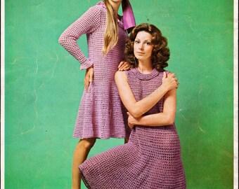 Crochet Pattern Dress for Women Sleeveless Dress INSTANT Download PDF Pattern 1970s Digital Download Long Sleeve Crochet Patterns 70 DIY