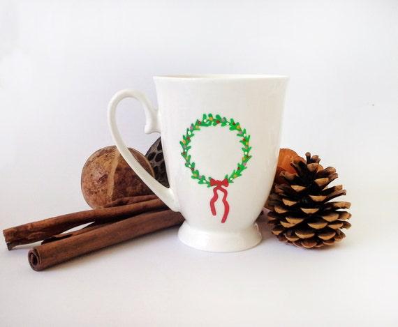 Cup - Hand painted White ceramic coffee mug - { Christmas Wreath }