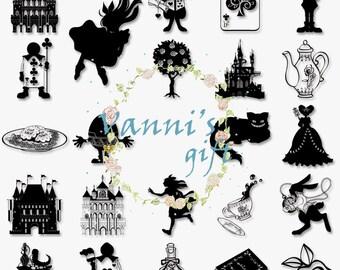 38 Alice in Wonderland Black Digital Download Scrapbooking Clip Art a63