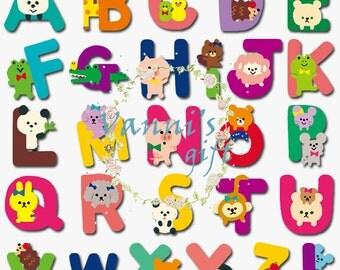 56 Animal Letters Alphabet Vintage Digital Download Scrapbooking Clip Art b09