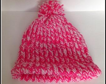 pink knitted hat, childs thick hat, girls winter hat, pink and white hat, pompom pink hat, thick knit warm hat, girls winter accessories,