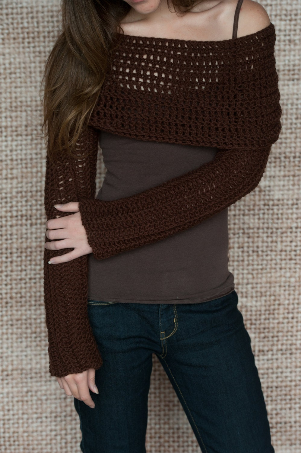 Knitting Pattern For Scarf With Sleeves : Crochet Pattern Sleeve Wrap Scarf Instand Download PDF