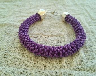 Purple beaded bracelet, Beaded rope bracelet, Purple rope bracelet, Crochet seed bead bracelet, Elegant bracelet, Modern bracelet