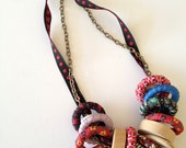Funky Necklace,Vintage Fabric Covered Wood Hoops and Natural Wood,Multi Color