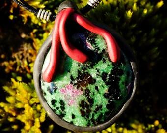 SALE Ruby Zoisite Pendant-maroon green jewelry fairy fae enchanted crystal jewelry mystical unique gift idea healing radiant feminine energy